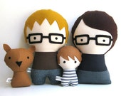Handmade Personalized Family with Dog. Rag doll. Custom your own family. Customize dolls.