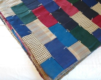 Vintage Wool Quilt Patchwork Full Queen Handmade Rectangle Patchwork Log Cabin Decor on SALE