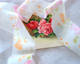5 Yds Vintage Fabric Ribbon / Pink Floral Ribbon / Torn Ribbon / Ripped Ribbon / Fabric Streamers / Pink Flower Streamers / Tangerine