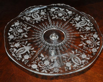 Clear Elegant Glass Cake Plate, Etched w Flowers and Scrolls