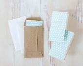 Blue + White Polka Dot Mini Cards - 10 pc
