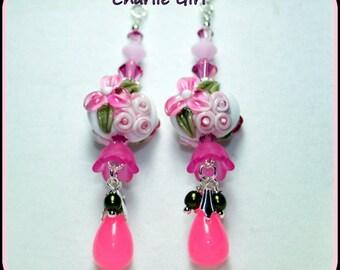 CHARLIE GIRL-Lampwork Floral Earrings,Dangle Earrings,Glass Flower Earrings,Spring Flowers,Soft Romance