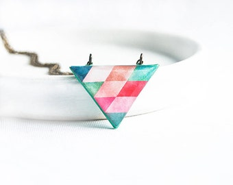 Colorful triangle necklace, triangle pendant, geometric jewellry