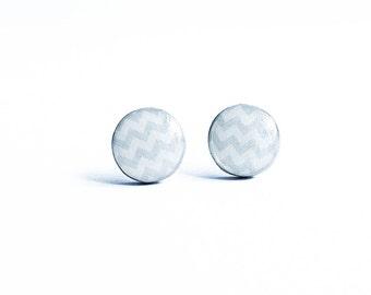 Chevron post earrings, light gray stud earrings zigzag