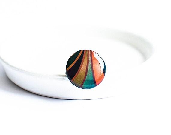 Black and orange ring, boho jewelry, bohemian ring