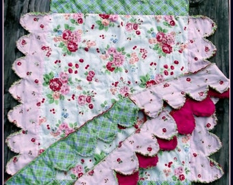 Sweet Watermelon Baby Girl Quilt, Bunting and Coaster  Beginner Pattern