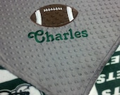 Personalized New York Jets Fleece and Minky Baby Blanket with football applique