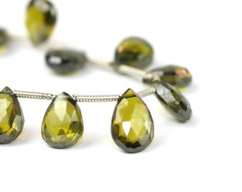 Natural Zircon Faceted Pear Briolettes One Olive Green Green Semi Precious Gemstones