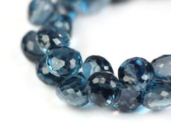 London Blue Topaz Micro Faceted Onion Briolettes 1 Deep Steely Blue Semi Precious Gemstones