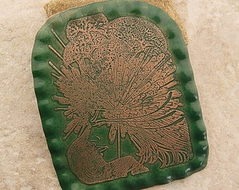 "Handmade Brooch/Pin, Large Etched Pin,  Art Deco Girl, Parsley Green, 2.5"" x 3"""