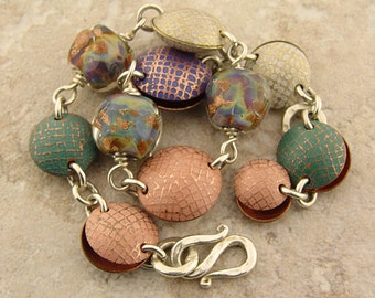 "Handmade Bracelet, Etched Metal and Lampwork Glass, 7.75 to 8"" Wrist"