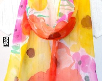 Silk Scarf Handpainted, Pink, Orange and Yellow Silk Scarf, Summer Flowers, Silk Scarves Takuyo. Silk Chiffon Scarf. Approx 10x58 in.