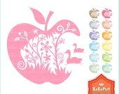 Instant Downloads, Apple Silhouette Design Clip Art. For Wedding Invitation Card, Personal and Small Commercial Use. BP 0231