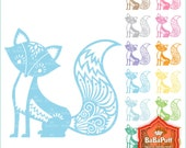 Instant Downloads, 12 Colors Fox Clipart, Personal and Small Commercial Use. BP 0758