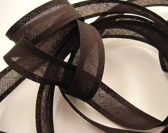 25mm bias binding tape, 10m length, chocolate brown