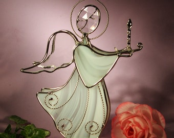 Stained Glass Angel with Candle  (394)