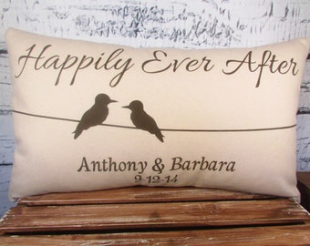 Birds on a wire pillow with Happily Ever After and personalized names and date - 12X20