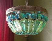 Chandelier Lighting, Crystal Flush Mount, One of a Kind
