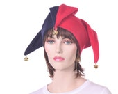 Jester Hat Navy Blue Red with Bells Fleece Harlequin Hat Mens Womens Hats Three Points