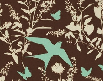 """Bungalow - Chocolate Swallow - Cotton Sateen Fabric - 54/55"""" by Joel Dewberry from Free Spirit"""