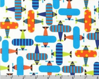 Ready, Set, Go! Bright Planes - Organic Cotton Fabric by Ann Kelle from Robert Kaufman