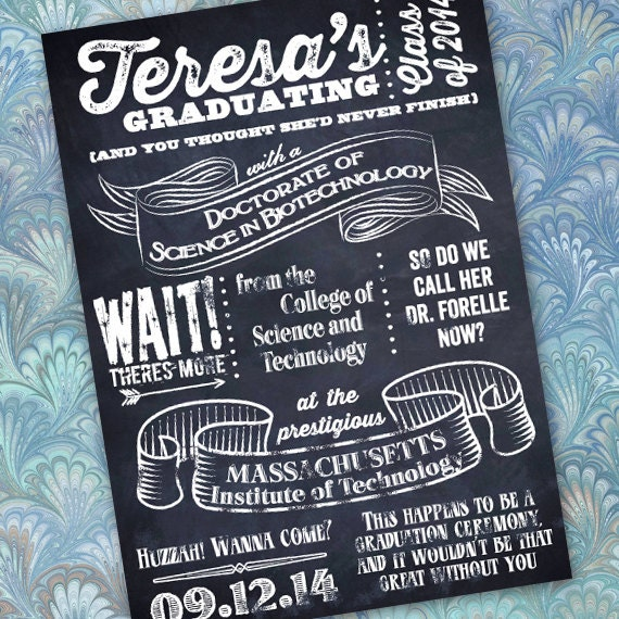 graduation invitations, chalkboard graduation announcements, black and white chalkboard invitations, college graduation, huzzah grad! IN321