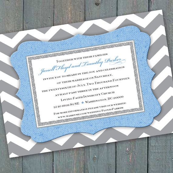 baby shower invitations, bridal shower invitations, gray chevron and sky blue wedding invitations, eggshell blue chevron invitations, IN304