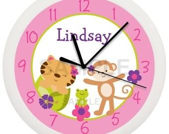 Tropical Jungle Animal Personalized Nursery Wall Clock