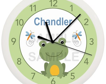Frog Froggy Dragonfly Pond Personalized Nursery Wall Clock