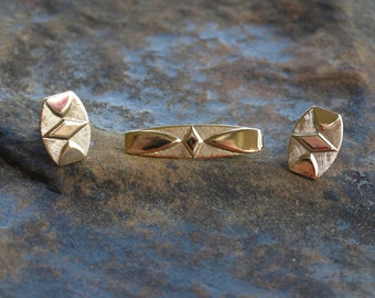 Vintage Cuff Links Tie Clip Set Swank Diamond Design