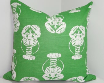 Green Lobster Print Pillow Cover Green/White Lobster  Pillow Cover Summer Deck Pillow 18x18