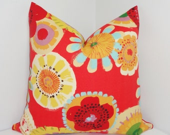 OUTDOOR Pillow Cover Red Blue Yellow Large Floral Pillow Cover Deck Patio Pillow Cover 18x18