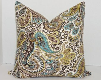 Paisley Print Pillow Cover Lime Green Blue Brown Paisley Decorative Throw Pillow Cover 18x18
