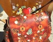 Vintage Tooled Floral Leather Handbag
