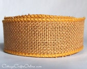 "Burlap Wired Ribbon, 1 1/2"",  Russet Natural Jute - TWENTY FIVE YARD RoLL - Offray, Yellow Gold Mustard #9, Fall Craft Wire Edged Ribbon"