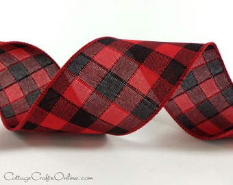 "Christmas Wired Ribbon, 2 1/2"" Red Black Check Plaid, TEN YARD ROLL, d. Stevens ""Buffalo Stitch"" Plaid Craft Wire Edged Ribbon"