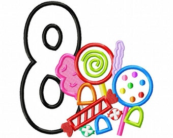 Candy Applique Number 8 - Machine Embroidery Design - 4 sizes
