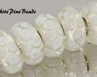 Murano Lampwork Handmade Glass Bead White Fits European Style Bracelets European Charm Bracelets
