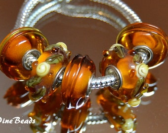 Amber and Gold Murano Glass Beads  5 PC Set    fits European  Charm Bracelets WhitePineBeads