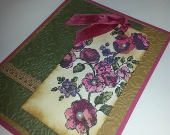 Handmade Stampin Up Elements of Sytle Greeting Note Card Floral Flower Shabby Chic