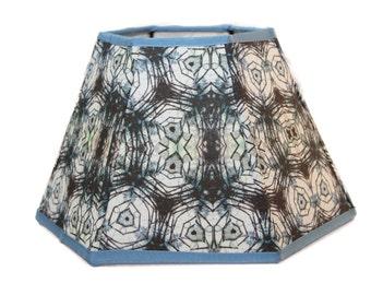 Hexagonal lamp shade, handmade lamp shade, fabric lamp shade, blue and white, art lamp shade, unique lamp shade, custom lamp shade