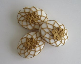 Soap Set in Gold Crochet Covers - Set of 3