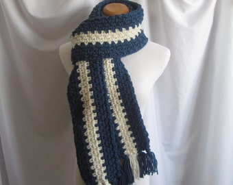 Scarf Extra Long Crochet in Windsor Blue and Off White