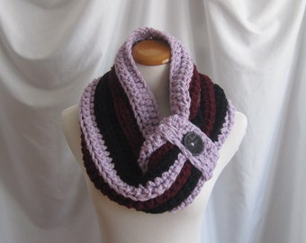 Cowl Chunky Bulky Button Crochet Cowl:  Purple Lilac, Black and Burgundy Red with Black Button