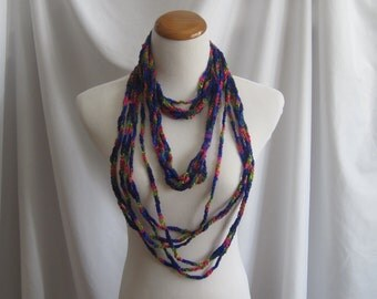 Infinity Crochet Scarf Cowl Necklace - Vibrant Purple, Pink, Blue & Green