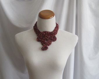 Crochet Medallion Necklace in Silky Burgundy, Wine and Brown