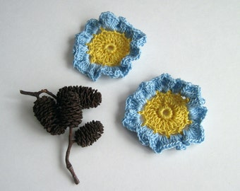 2 Crochet Flowers - Yellow with Baby Blue Ruffles - Set of 2