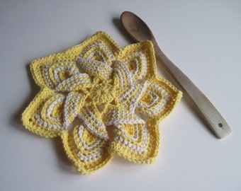 Crochet Flower Trivet Hot Pad - Yellow and Natural Off White