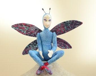 Art Doll Fairy OOAK, Sapphire