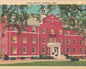 Wareham, Massachusetts, Tobey Hospital - Linen Postcard - Unused (M)